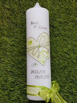 Hochzeitskerze LOVE HK114 Weiß Holoflitter mit Apfelgrün & Silber