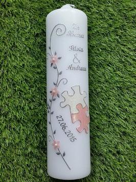 Hochzeitskerze Puzzle HK219 Rosa-Weiß Holoflitter mit Silber