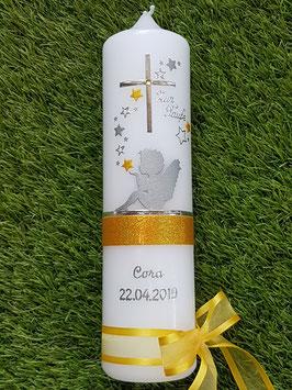 Taufkerze SK154-1 SCHUTZENGEL sitzend mit Sterne / Gelb Holoflitter & Silber / Silberschrift