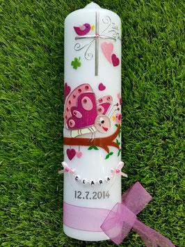 Taufkerze Schmetterling TK183 in Pink-Rosa mit Namensbändchen