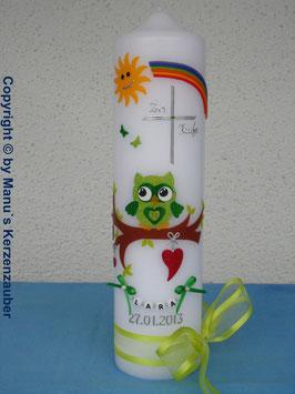 Taufkerze EULE mit Regenbogen & Kette TK181 Apfelgrün-Grün Flitter