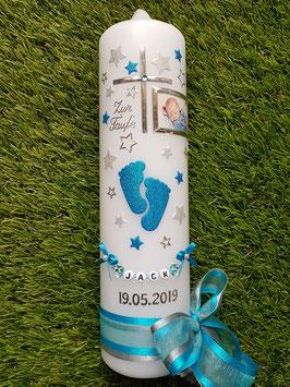 Taufkerze TK096 Große Füsschen Türkis-Silber Holoflitter mit Silber & Foto