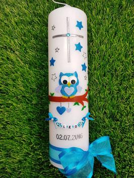 Taufkerze EULE das Original mit Sterne & Buchstaben-Kette TK181 in türkis-hellblau Flitter/Bänder Türkis