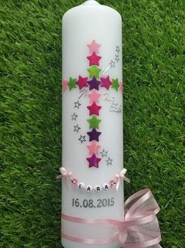 Taufkerze  TK202-1 Kreuz Rosa-Pink-Apfelgrün-Brombeerlila Flitter & Buchstabenkette