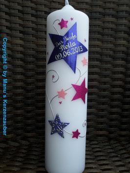 Taufkerze od. Kerze für Sternenkinder KSK300 Lila-Pink-Rosa
