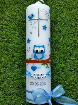 Taufkerze EULE das Original mit Sterne & Buchstaben-Kette TK181 in türkis-hellblau Flitter/Bänder Hellblau