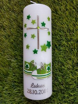 Tischkerze Patenkerze KK099 Babychucks Apfelgrün-Grasgrün Holoflitter mit Sterne / Silberschrift / Ohne Schleife