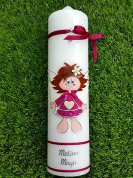 Schutzengelkerze Mädchen SK104 Pink Holoflitter / Silberschrift