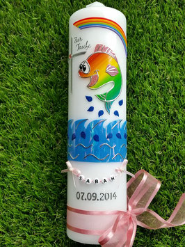 Taufkerze Lustiges Fischmädchen Altrosa TK195-5