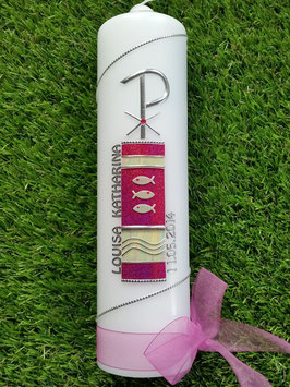 Taufkerze TK170 in Pink Holoflitter mit Organzaschleife