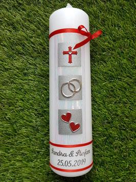 Sehr edle Hochzeitskerze HK210 Perlmutt-Creme-Rot Silber mit Kreuz