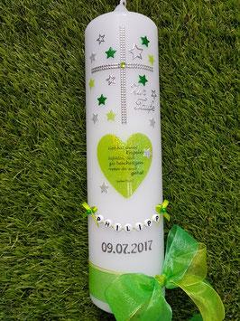 Taufkerze TK093 Herz mit Spruch & Sterne in Apfelgrün-Grasgrün Holoflitter mit Silber
