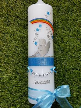 Taufkerze SK154-1 SCHUTZENGEL sitzend Mittelblau Holoflitter & Regenbogen
