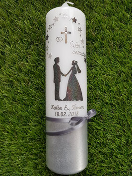 Hochzeitskerze HK250-Brautpaar mit Sterne Silber-Anthrazit Holoflitter