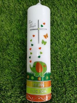 Taufkerze Elefant TK210-3 Orange Holoflitter & Apfelgrün/Dunkelgrün Holoflitter
