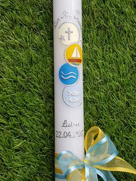 Kommunionkerze KK432 Mit Jesus in einem Boot / Doppelschleife