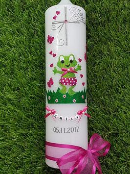 """Taufkerze TK282 """"Froschmädchen mit Kreuz"""" in Apfelgrün-Pink Holoflitter"""