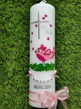 Taufkerze Vögelchen TK178 Rosa-Pink Flitter