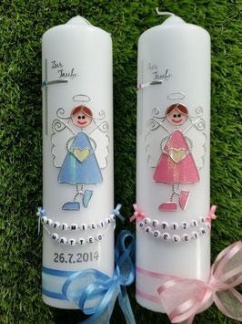 Zwillings Taufkerzen Schutzengel ZW-TK119 Mädchen oder Junge Satinschleifen