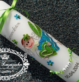 Taufkerze SK116 Schutzengel Apfelgrün-Türkis Holoflitter mit Blüten