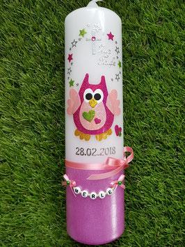 Taufkerze Eule TK181-20-U Pink-Rosa-Apfelgrün Holoflitter