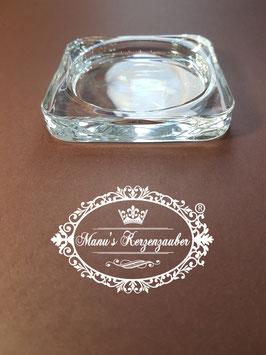 Kerzenteller KST 100 Glas Viereck elegant