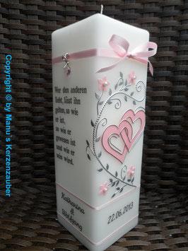 Hochzeitskerze HKS213 Rosa Uni mit Silber