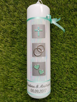 Sehr edle Hochzeitskerze HK210 Zartmintgrün-Silber mit Kreuz