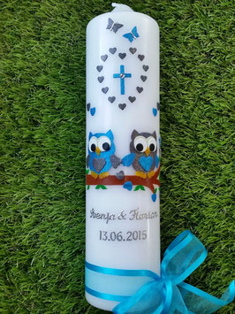 Hochzeitskerze Verliebte Eulen HK216-2 Türkis-Anthrazit Holoflitter mit Kreuz