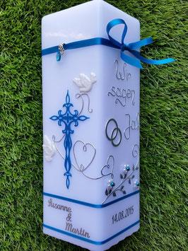 Hochzeitskerze Wir sagen Ja! HKS208 in Türkis