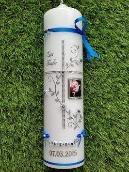 Taufkerze TK109-7 Mittelblau Flitter-Silber mit Foto
