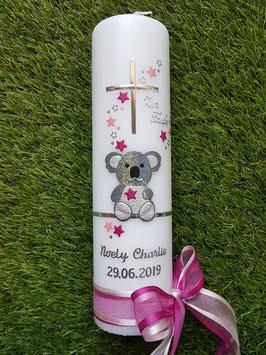 "Taufkerze ""Koala"" TK217 Rosa-Pink-Silber Holoflitter mit Sterne / Ohne Wiese"