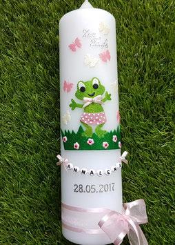 "Taufkerze TK282 ""Froschmädchen"" in Apfelgrün-Zartrosa-Creme Holoflitter / Ohne Sonne"