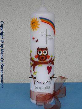 Taufkerze EULE mit Regenbogen & Kette TK181 Braun-Orange Flitter