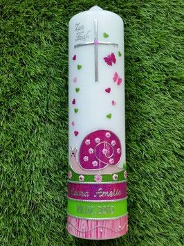 Taufkerze Schneckchen TK182-U in Pink-Rosa-Apfelgrün Holoflitter