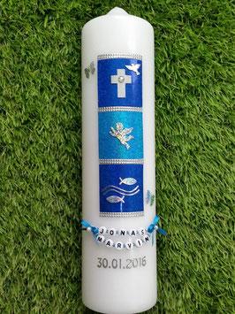 Taufkerze TK098 Symbole Dunkelblau-Türkis Holoflitter mit Schmetterlinge