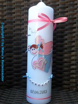 Taufkerze SK116 Schutzengel Neu Mädchen Hellblau Rosa