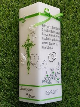 Hochzeitskerze HKS208-1 Apfelgrün Holoflitter mit Spruch