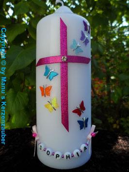 Tisch oder Patenkerze Regenbogen Schmetterlinge TK190 Pink Flitter