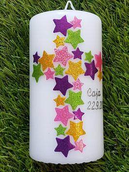 Tisch oder Patenkerze TK201 Kreuz Dunkellila-Fuchsia-Apfelgrün-Gelb Holoflitter & Kette