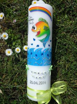 Taufkerze Lustiges Fischjunge TK195-5 Apfelgrüne Satin-Organzaschleife