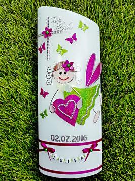 Taufkerze SK116 Schutzengel Apfelgrün-Pink Holoflitter / Schmetterlinge & Buchstabenkette