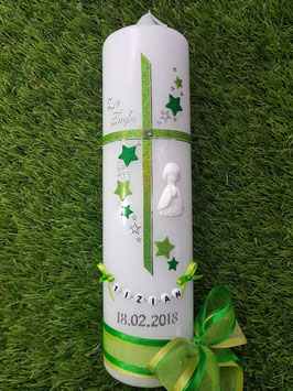 Taufkerze Kreuz mit Sterne TK190 Apfelgrün-Grasgrün Holoflitter / 3D Engel / Doppelschleife