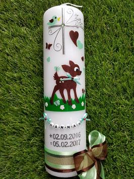 Taufkerze Bambi TK188 Braun-Mint-Grasgrün Flitter Buchstabenkette© / Band Braun-Mint
