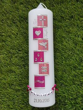 Taufkerze TK315 Symbole Pink-Altrosa Hololfitter / Buchstabenkette