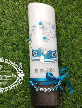 Taufkerze TK099-U Babychucks Türkis-Hellblau-Anthrazit Holoflitter mit Sterne / Buchstabenkette