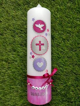 Taufkerze Symbole TK307-U in Pink-Fuchsia-Zartflieder-Silber Holoflitter / Taube-Kreuz-Herz / Buchstabenkette
