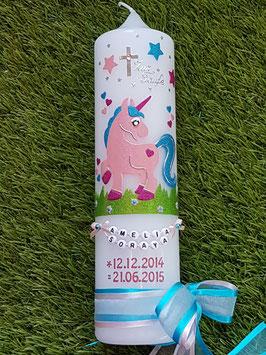 Taufkerze Einhorn TK265 Rosa-Pink-Türkis Holoflitter / Buchstabenkette / Datum in Rosa