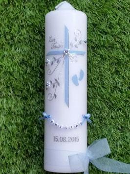 Taufkerze TK135-2 Füsschen in Hellblau Flitter mit 1 Paar Füsschen