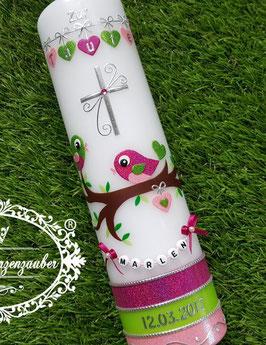 Taufkerze Vögelchen TK 214-U Pink-Apfelgrün-Rosa Holoflitter / Buchstabenkette